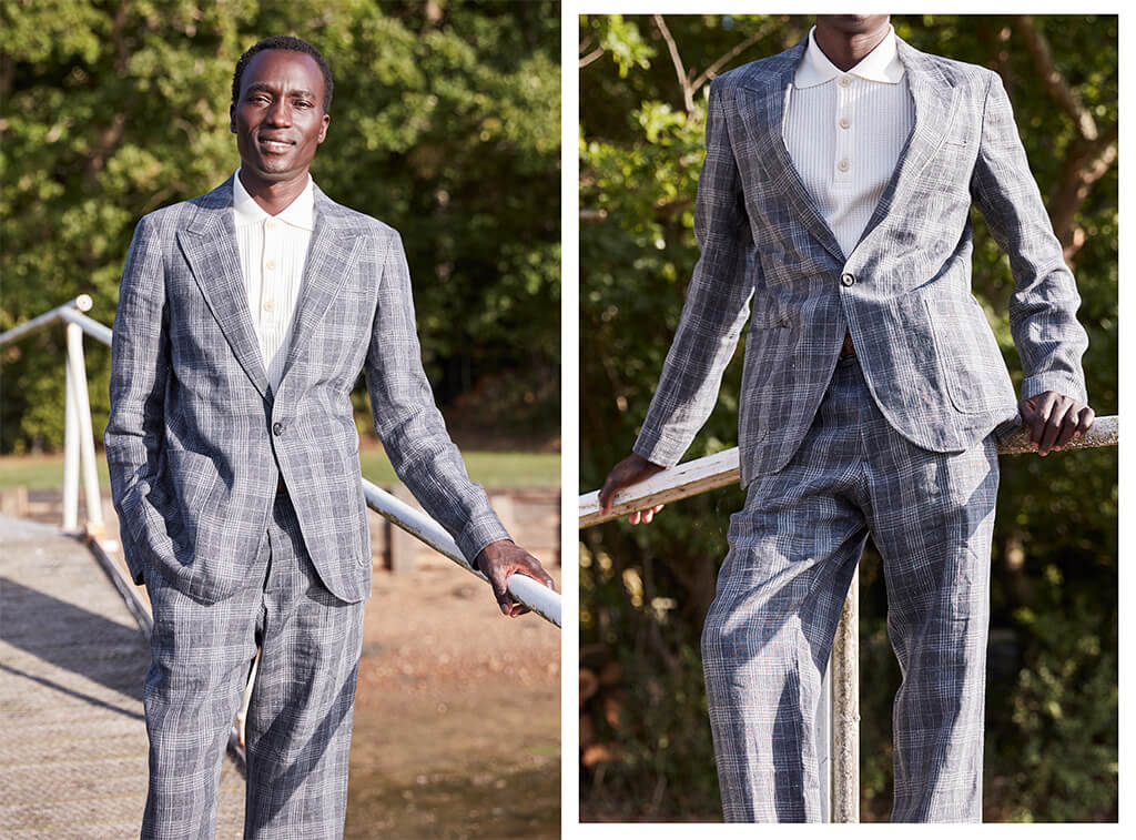 OLIVER SPENCER LAUREL JACKET HUCKFORD CHARCOAL AND FISHTAIL TROUSERS HUCKFORD CHARCOAL