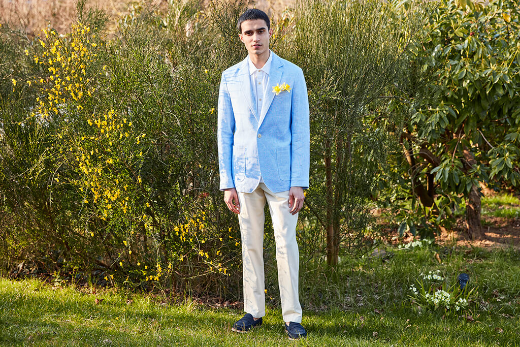 OLIVER SPENCER FAIRWAY JACKET EVERING SKY BLUE AND FISHTAIL TROUSERS FALKE CREAM