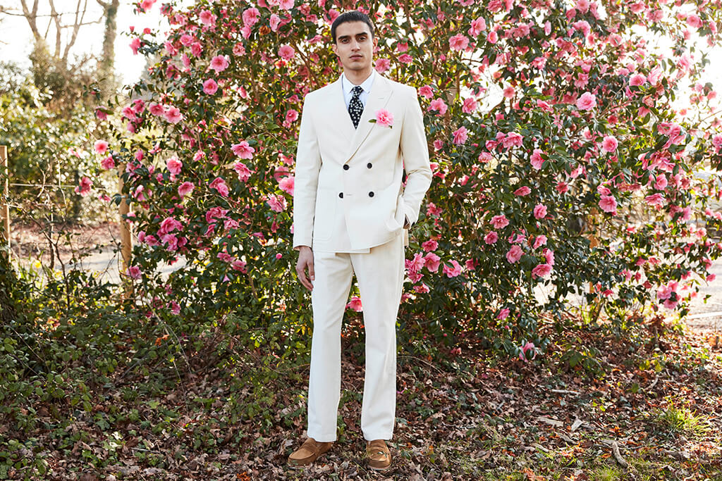 OLIVER SPENCER DOUBLE BREASTED JACKET KILDALE CREAM AND DRAWSTRING TROUSERS KILDALE CREAM