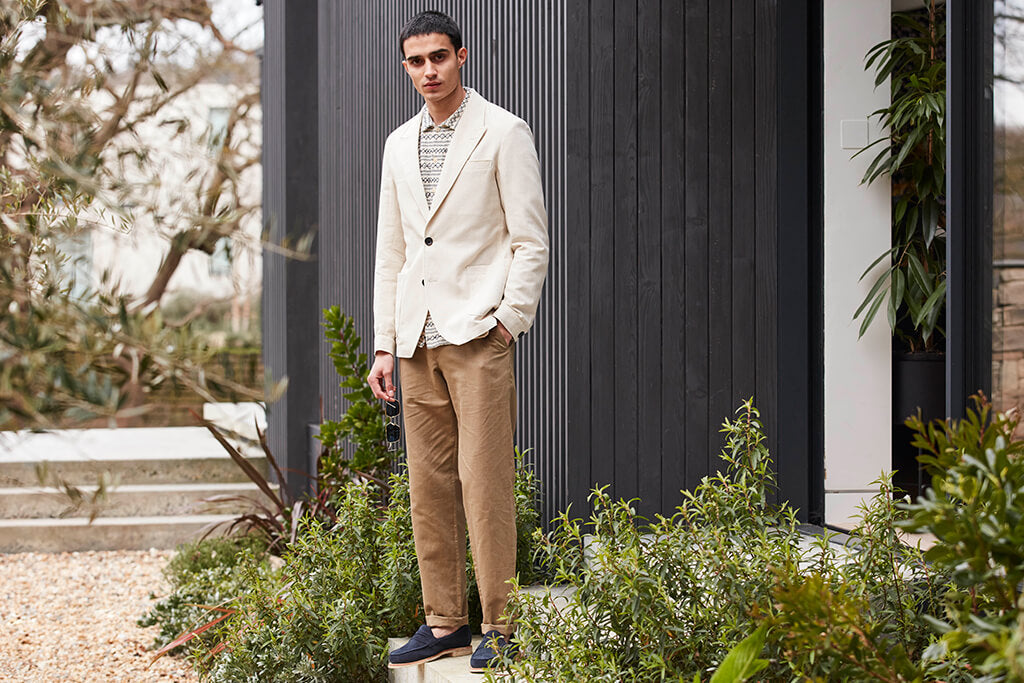 OLIVER SPENCER FINSBURY JACKET FALKE CREAM AND FISHTAIL TROUSERS LINTON TOBACCO