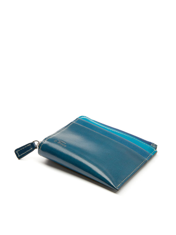 Il Bussetto Corner Zip Wallet Blue Multi