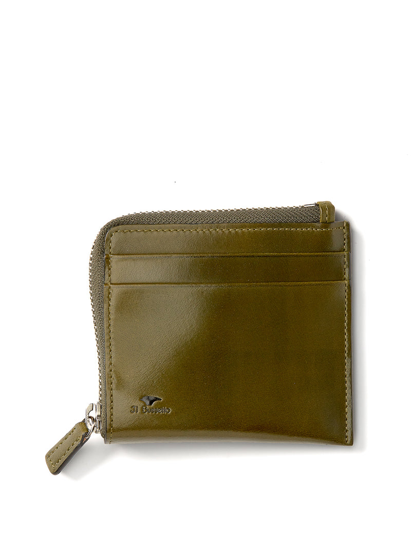 Il Bussetto Corner Zip Wallet Dark Green