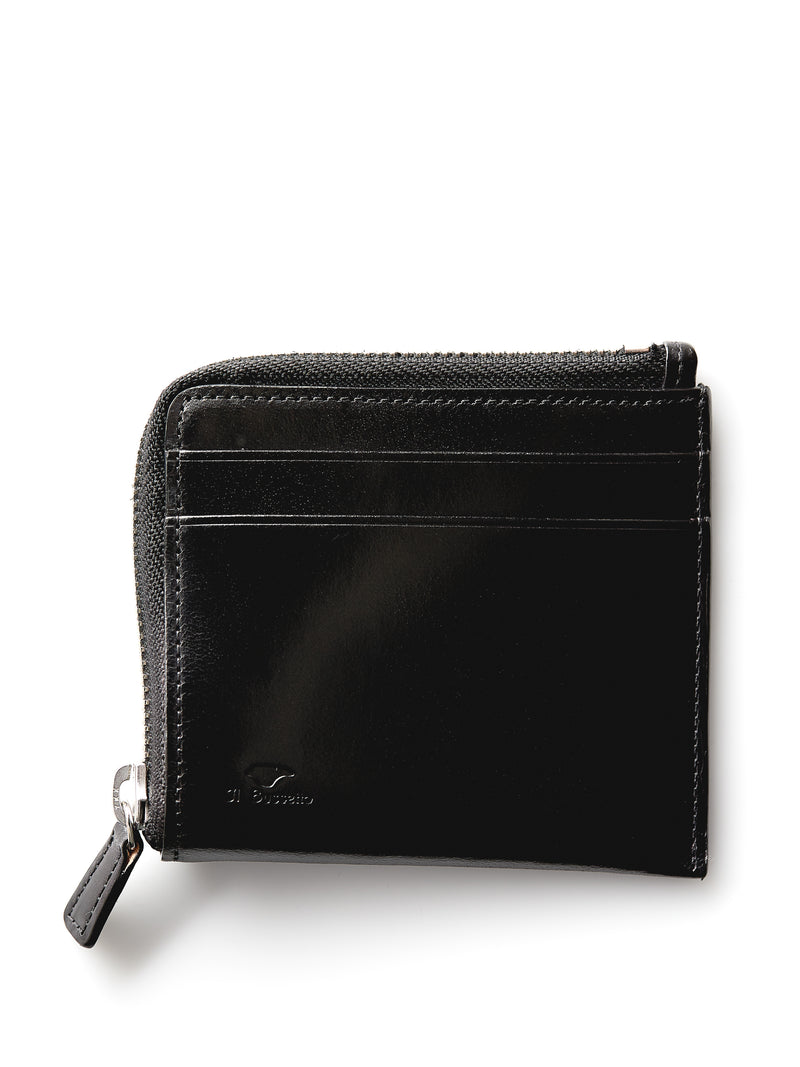Il Bussetto Corner Zip Wallet Black Leather