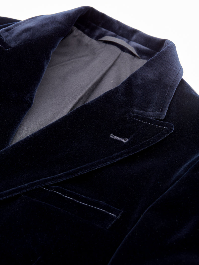 Double Breasted Jacket Velvet Navy