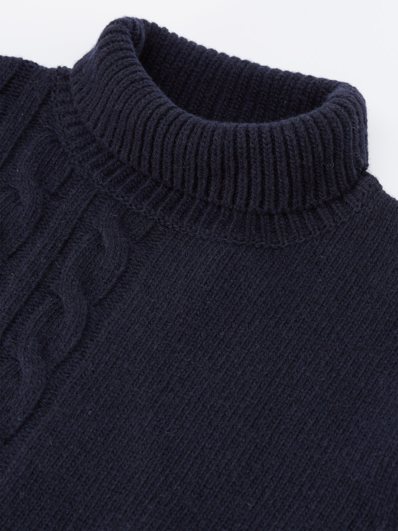 Talbot Roll Neck Jumper Cable Navy