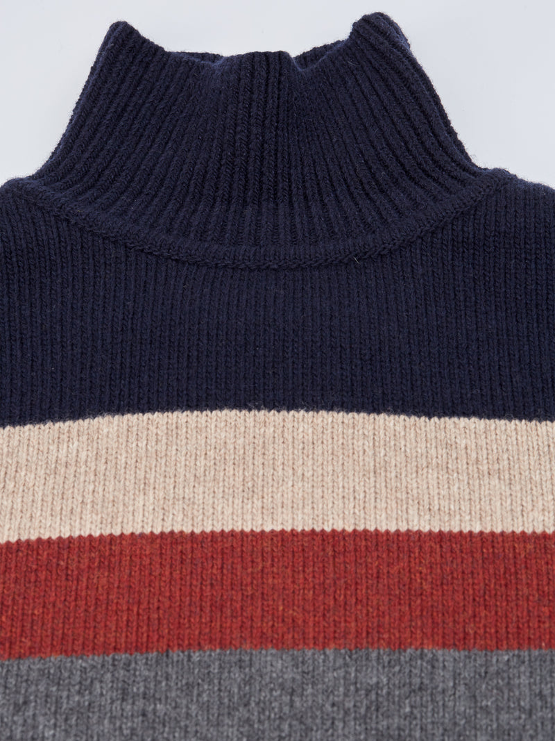 Talbot Roll Neck Jumper Dane Navy Multi