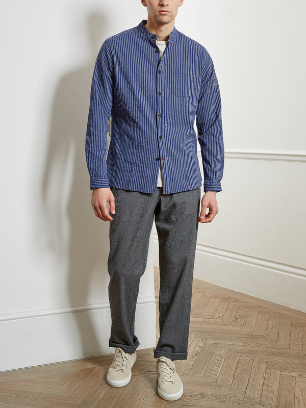 Grandad Shirt Rowley Blue