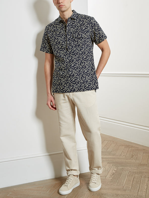 Dock Popover Short Sleeve Shirt Maples Navy
