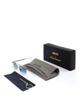 Lymington Aviator Sunglasses Silver Azure Lens