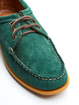 Quoddy Blucher Moccasin Forest Green Suede