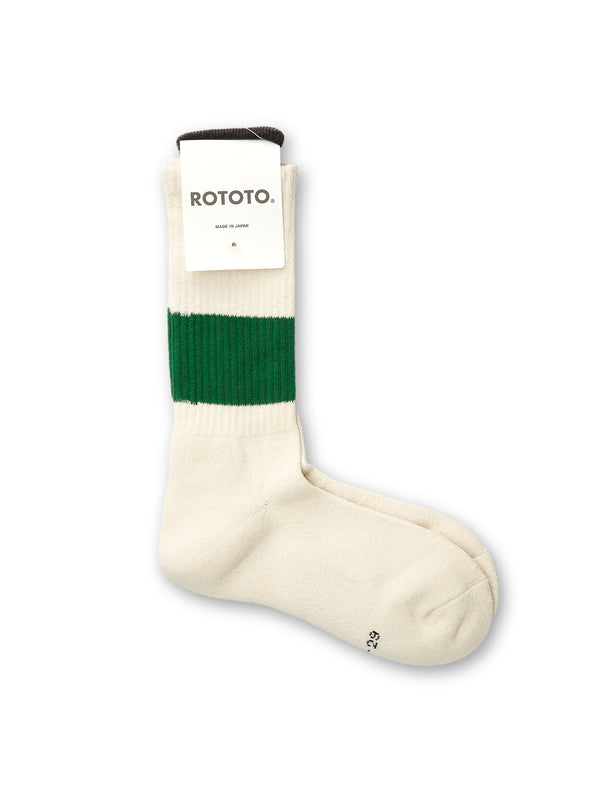 Ro To To Classic Crew Socks Ivory/Green