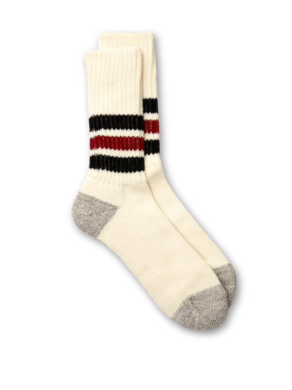 Ro To To Coarse Ribbed Old School Socks Black/Red
