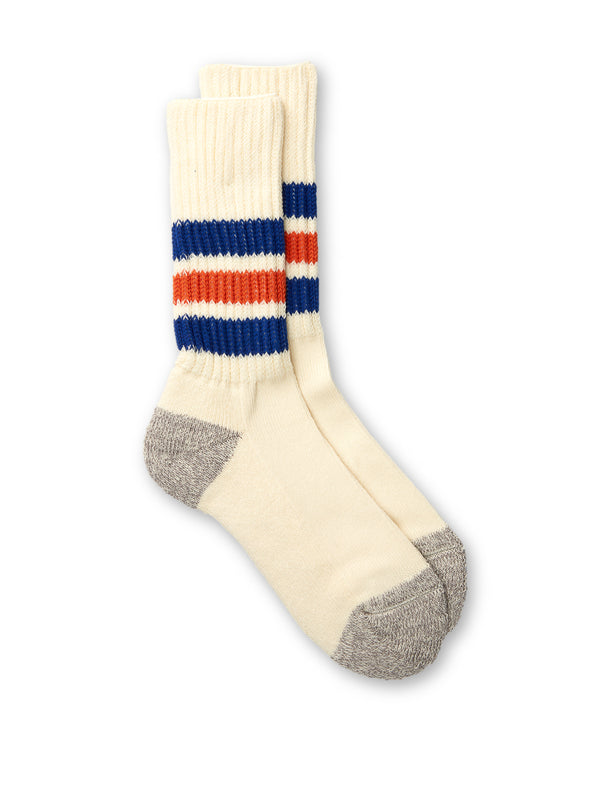 Ro To To Coarse Ribbed Old School Socks Blue/Orange