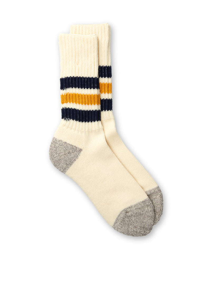 Ro To To Coarse Ribbed Old School Socks Navy/Yellow