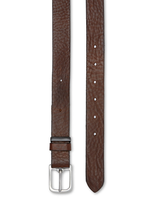 One Size Belt Pebble Leather Dark Brown