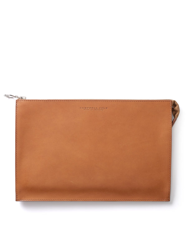 Campbell Cole Tan Leather Simple A5 Pouch
