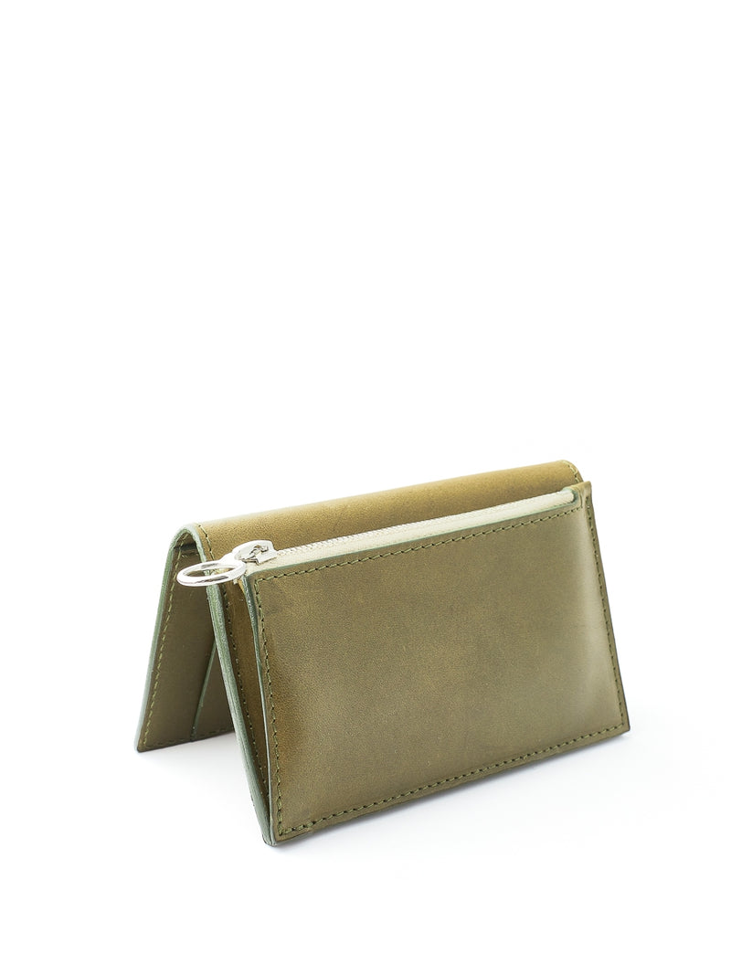 Campbell Cole Khaki Leather Simple Slim Wallet