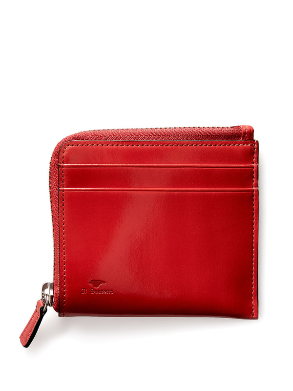 Il Bussetto Corner Zip Wallet Red Leather