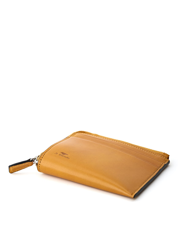 Il Bussetto Corner Zip Wallet Burnt Yellow Leather