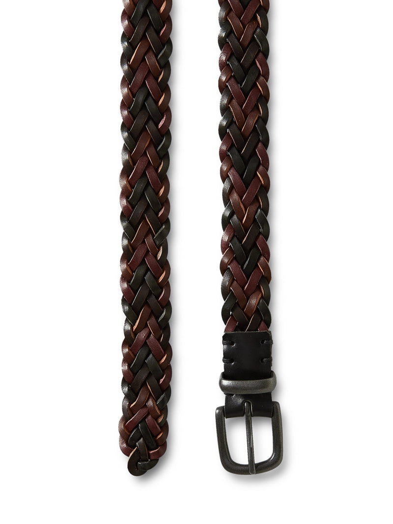 Braid Belt Leather Brown Multi