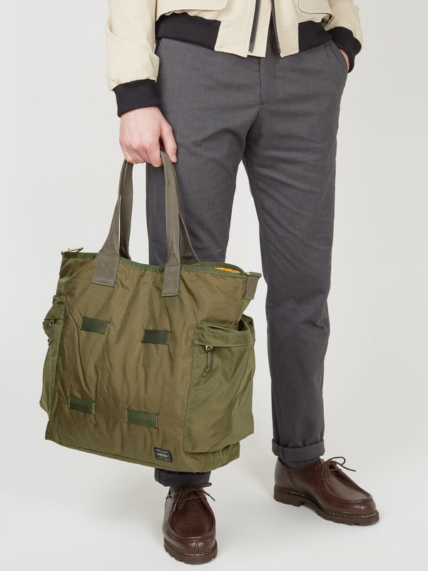 Porter Force 2Way Tote Bag Olive