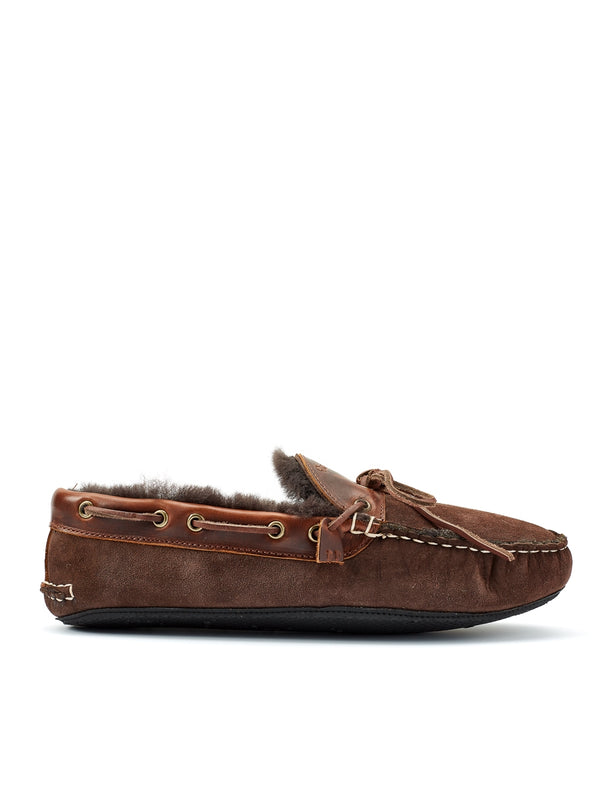 Quoddy Fireside Slipper Shearling Brown