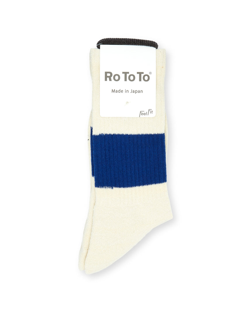 Ro To To Classic Crew Socks Ivory/Blue