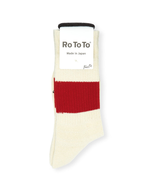 Ro To To Classic Crew Socks Ivory/Red
