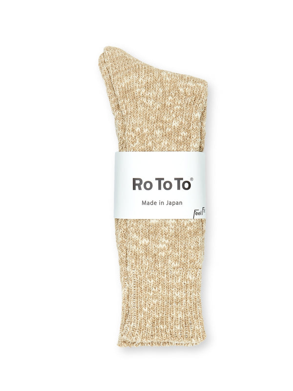 Ro To To Low Gauge Slub Crew Socks Beige
