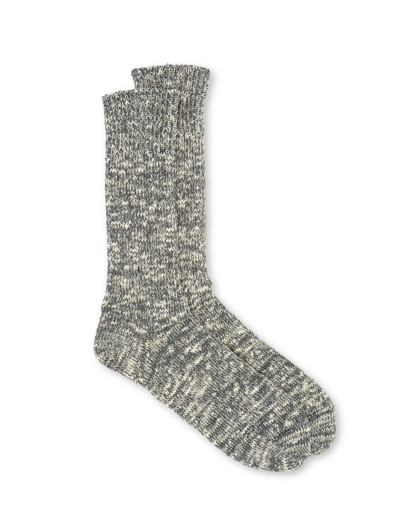 Ro To To Low Gauge Slub Crew Socks Grey