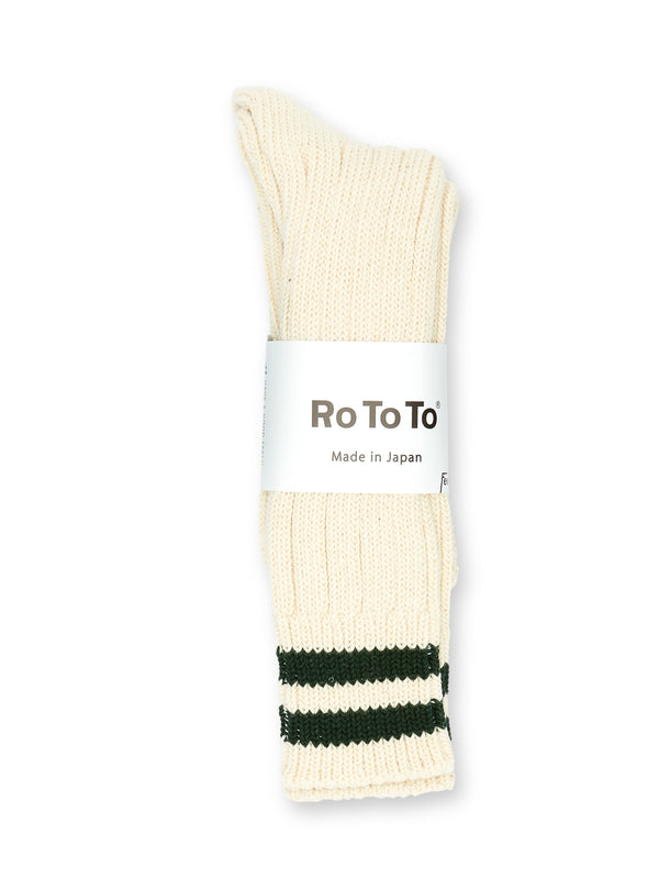 Ro To To 2 Stripes Low Raw Socks Ecru/Green
