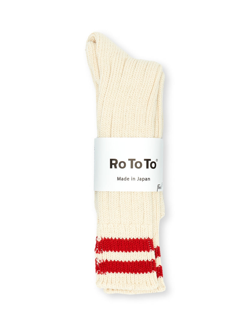 Ro To To 2 Stripes Low Raw Socks Ecru/Red