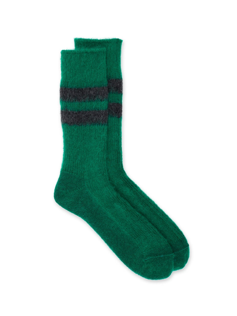 Ro To To Reversible Mohair Socks Green