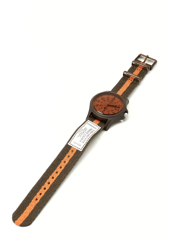 Timex Acadia Watch Olive/Orange Herringbone