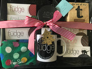 Ultimate Xmas Gift Pack | 8 Fudges, Happy Socks, Tea, Mug & Candle