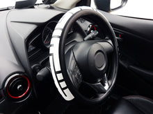 Load image into Gallery viewer, Sparkz Customs 38cm Car Steering Wheel Cover with Kufic Bold script in Bismillahirrahmanirrahim left side view