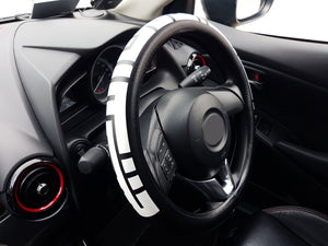 Sparkz Customs 38cm Car Steering Wheel Cover with Kufic Bold script in Bismillahirrahmanirrahim left side view