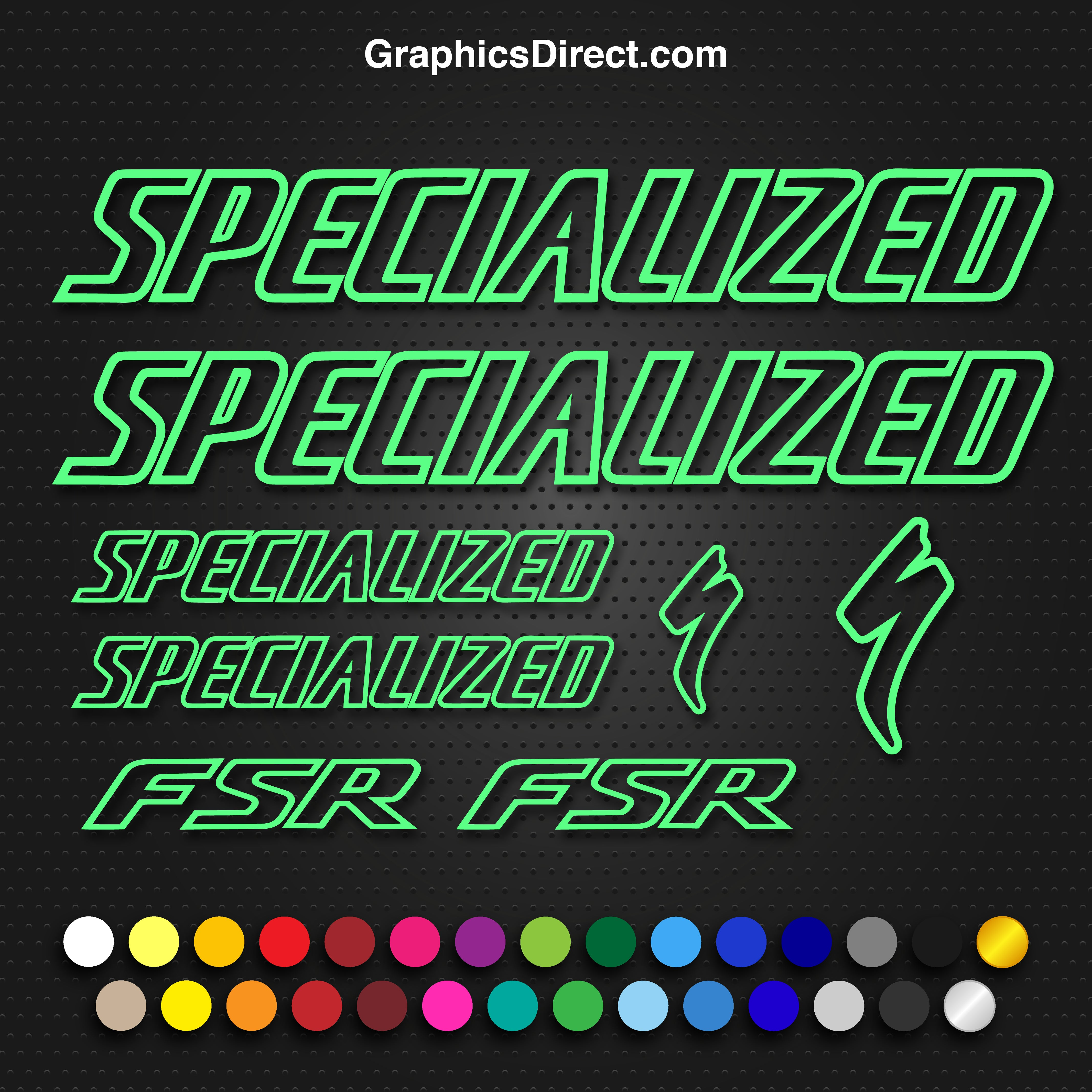 285mm x 38mm Specialized outline style vinyl cut sticker decal many colours.