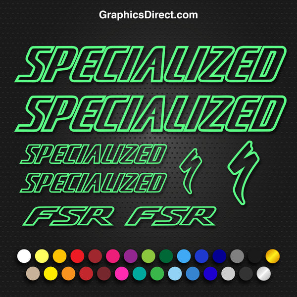 Specialized FSR Replacement Vinyl Decal Graphic Sticker Set MTB DH XC Bike Outline