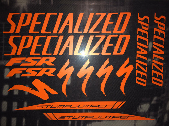 Specialized FSR Stumpjumper Logo Graphics Set mountain bike graphics stickers decals.
