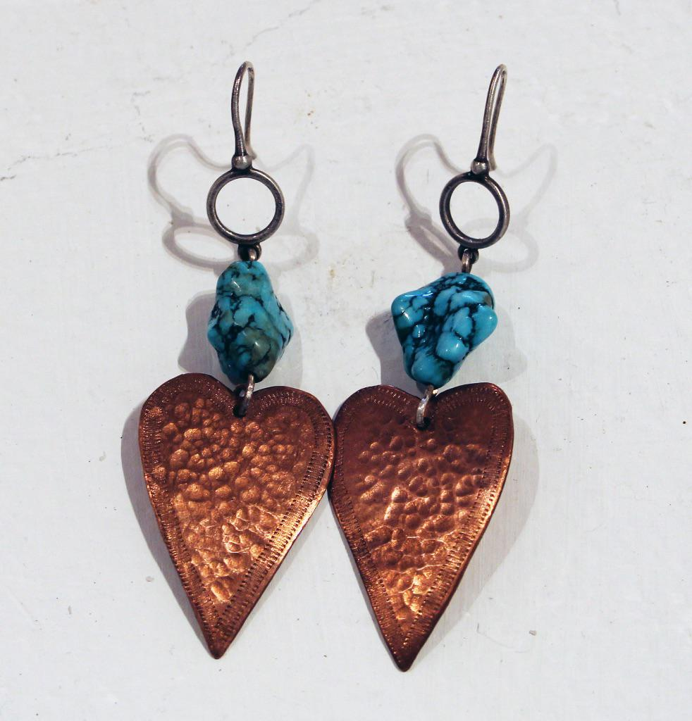 Earrings With Turquoise Stone by Nancy Barnes