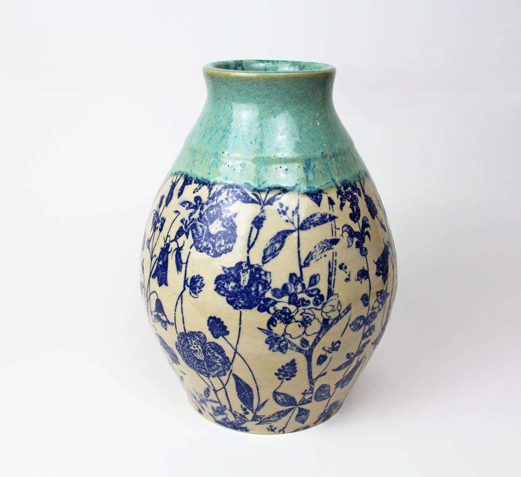 Blue Floral Vase by Suzanne Kleese