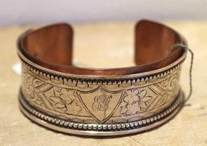 Engraved Sterling and Copper Cuff by Nancy Barnes