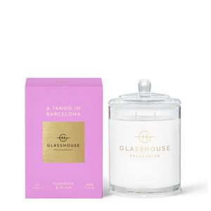 Glasshouse Fragrances 380g Soy Candle - A TANGO IN BARCELONA - Tuberose & Plum