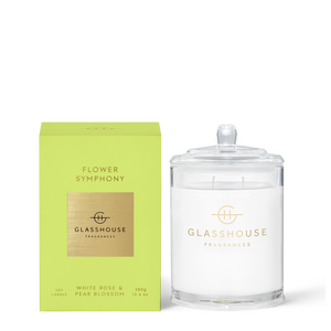 Glasshouse Fragrances 380g Soy Candle - FLOWER SYMPHONY - White Rose & Pear Blossom
