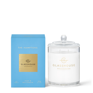 Glasshouse Fragrances 380g Soy Candle - THE HAMPTONS - Teak & Petitgrain