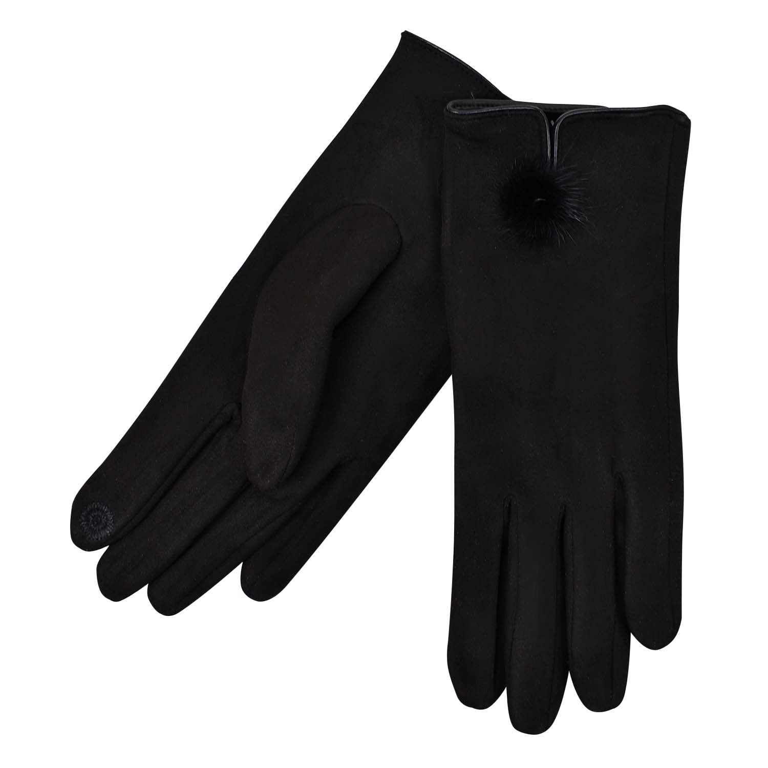 Suede Glove - Faux Fur Pom Pom - Black