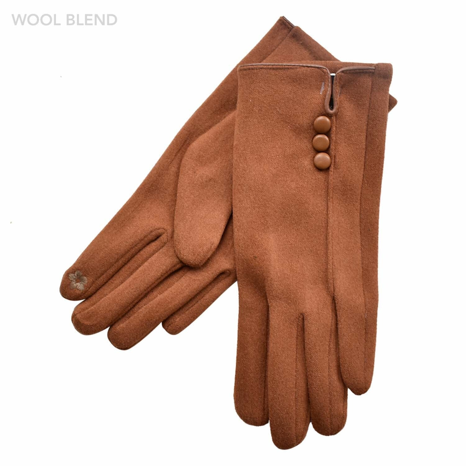 Three Button Detail Glove - Tan