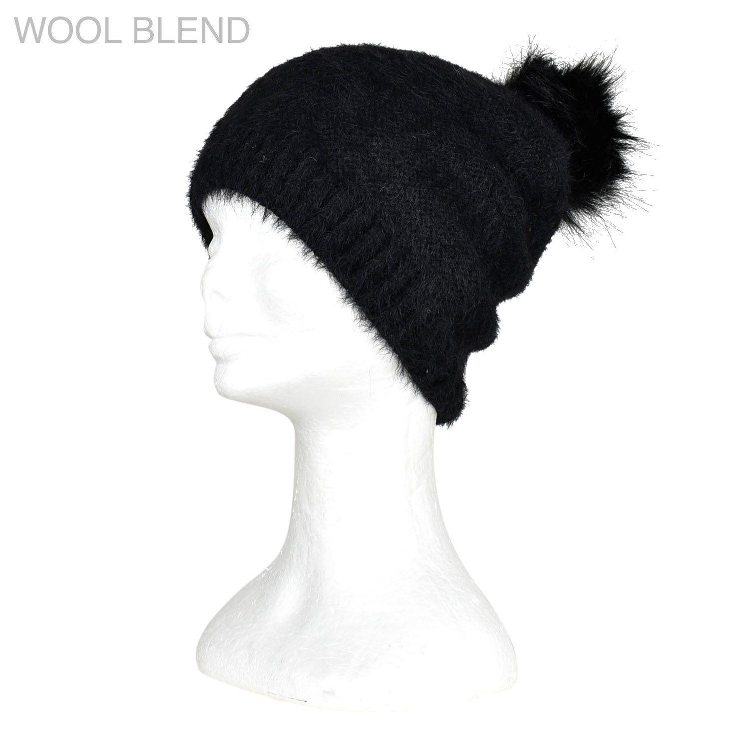 Furry Knitted Beanie - Black