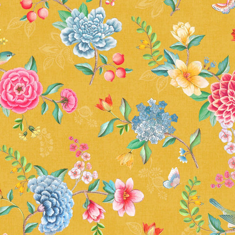Eijffinger Pip 300104 multicolour Chinoiserie inspired floral wallpaper with a yellow backround